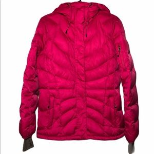 LANDS' END down puffer coat hood pink small 6-8